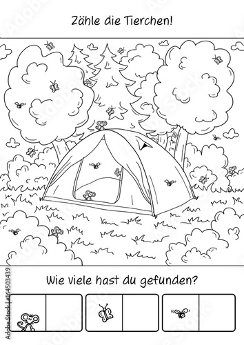 Fotografía  Rätsel – Camping – Tiere zählen