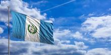 Guatemala Waving Flag On Blue ...
