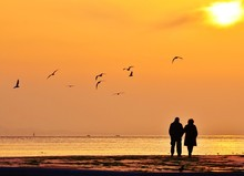 Old Couple Walking Near The Sea At Sunset. The Sun Between Clouds And Seagulls Flying On The Sea, Silhouette.