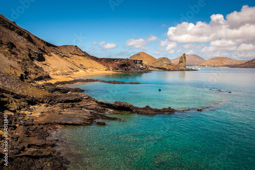 Galapagos Islands. Landscape of the Galapagos Islands. Cliffs stretching into the ocean.