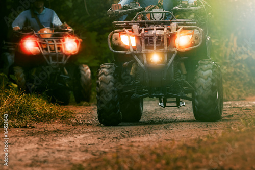 Poster Motorsport man riding atv vehicle on offroad track ,people outdoor sport activitiies theme