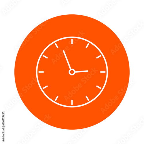 Photo  School wall clock, vector round line icon, simple color change, flat style