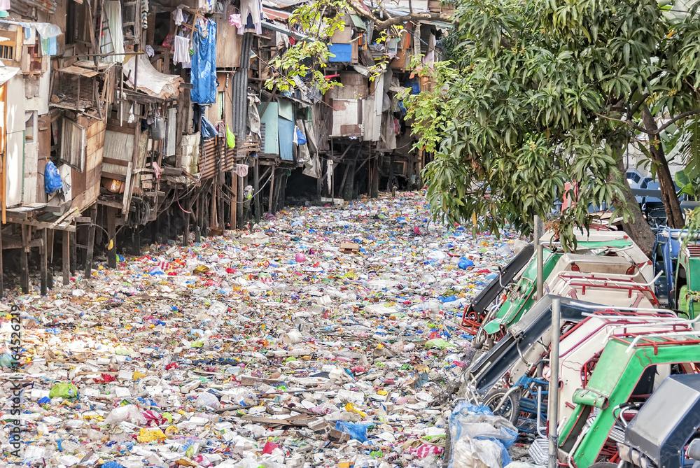 Fototapeta Polluted Urban River