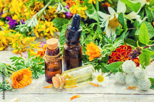 Fotografie, Obraz  Extract of herbs in a small bottle
