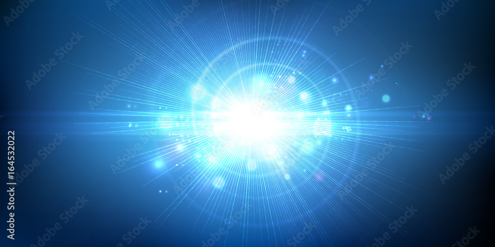 Fototapety, obrazy: Light effect, glowing flare. Abstract blue background. Vector graphic design.