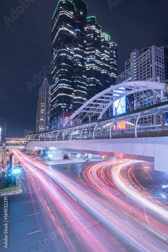 Bangkok Cityscape Expressway and Highway top view at night, Thai Poster