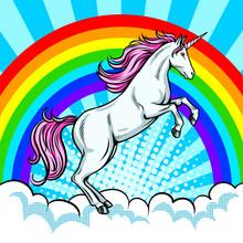 Fairy Animal Unicorn And Rainbow Pop Art Vector