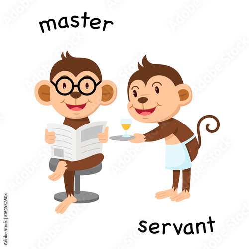 Opposite master and servant illustration Canvas Print