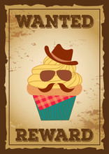 Cupcake Design To Cowboy Concept On Wanted Poster For Menu Template
