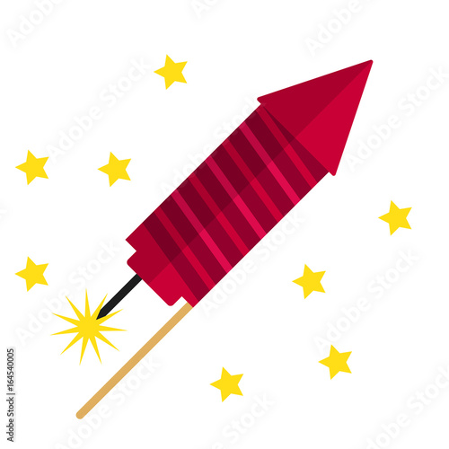 Valokuva  Fireworks flat icon, vector sign, colorful pictogram isolated on white