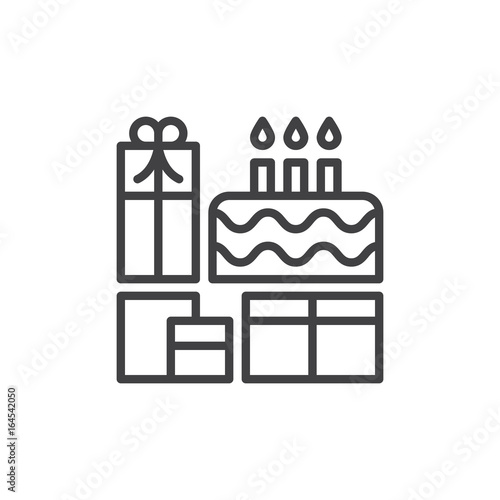 Birthday Cake And Presents Line Icon Outline Vector Sign Linear