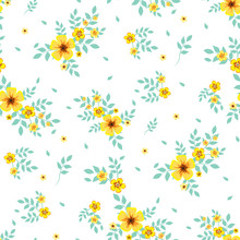 Seamless Floral Pattern. Background In Small Yellow Flowers On A White Background For Textiles, Fabric, Cotton Fabric, Covers, Wallpaper, Stamp, Gift Wrapping, Postcard, Scrapbooking.