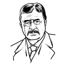 Theodore Roosevelt Vector Illustration, Theodore Roosevelt Drawing Outline, 26th U.S. President.