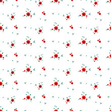 Seamless Floral Pattern. Background In Small Red Flowers On A White Background For Textiles, Fabric, Cotton Fabric, Covers, Wallpaper, Stamp, Gift Wrapping, Postcard, Scrapbooking.