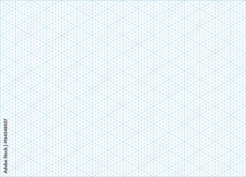 Fototapeta Blue vector isometric grid graph paper accented every 5 steps A4 landscape oriented background