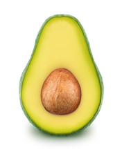 Half Of Green Avocado With Seed Isolated On A White