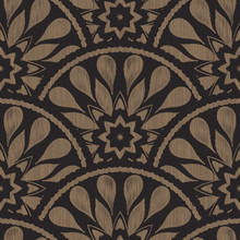 Vector Seamless Embroidery Ethnic Pattern With Fish Scale Layout. Brown Black Drop-shaped Elements With Line Texture Background.