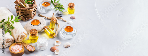 Keuken foto achterwand Spa Spa wellness setting concept, background with essential oil soap cream
