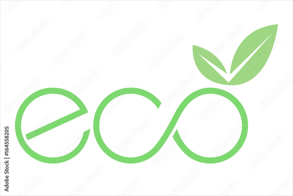 Fototapeta logo eco con foglia e simbolo infinito verde