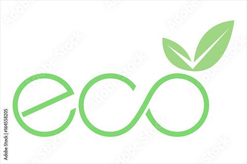 Obraz logo eco con foglia e simbolo infinito verde - fototapety do salonu