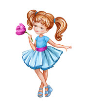 Watercolor Illustration, Cute Little Girl In Blue Dress Holding Pink Flower, Redhead Coquette, Isolated On White Background