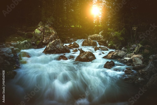 Garden Poster River Scenic Alpine Waterfall Sunset