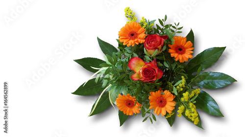 Stickers pour porte Autruche Blumenstrauss isoliert freigestellt auf weißem Hintergrund