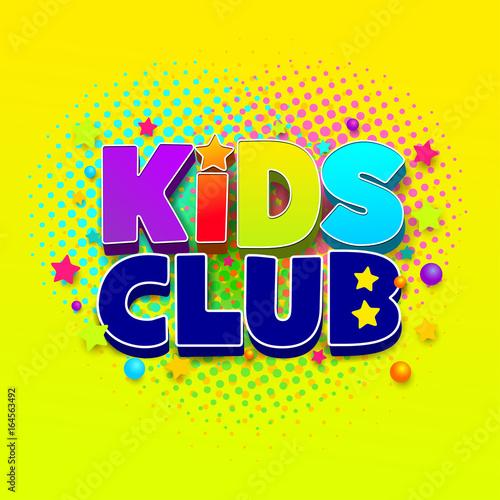 Kids Club Logo Letter Sign Poster Vector Illustration Eps 10
