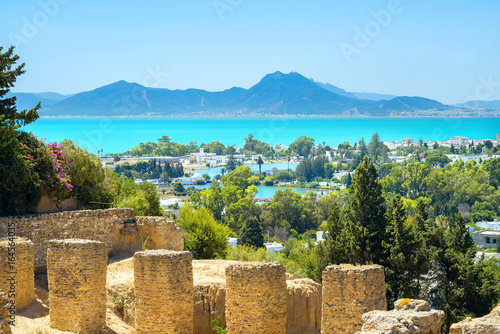 Spoed Foto op Canvas Tunesië Ancient ruins of Carthage and seaside landscape. Tunis, Tunisia, Africa