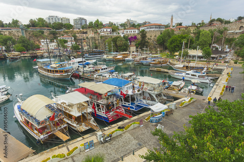 Foto op Canvas Lichtblauw The ancient port of the old city of Antalya