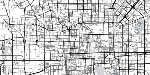 Fotomural Vector city map of Beijing, China