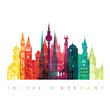 Travel Germany famous landmarks skyline. Vector illustration