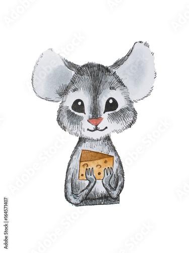 Cute little myszy gospodarstwa ser z obu rąk rysowane ręcznie