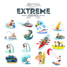 Set Of Water Extreme Sports Ic...