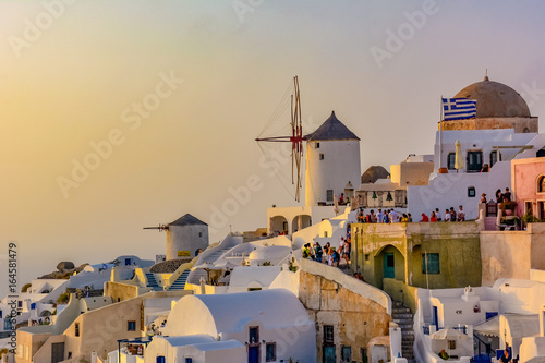 Poster Light pink Panorama of Santorini Island in Greece famous for romantic sunsets on the cliff