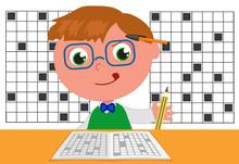 Smart Kid Doing Crosswords Vec...
