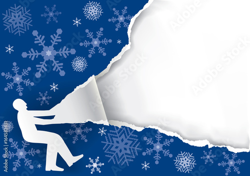 Man Ripping Christmas Paper Background Canvas Print