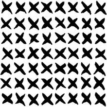 Hand Drawn Black Crosses. Seamless Vector Pattern