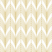 Stylish Art Deco Style Scales Ornament In Gold. Seamless Vector Pattern