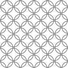 Seamless Abstract Black And White Circle Grid Pattern - Simple Halftone Vector Background Graphic