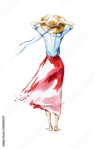 Watercolor fashion illustration, girl looking in the distance, rear view