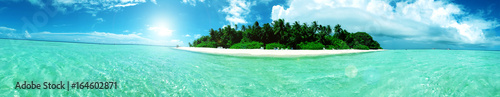 Fotoposter Groene koraal paradiesische Insel auf den Malediven