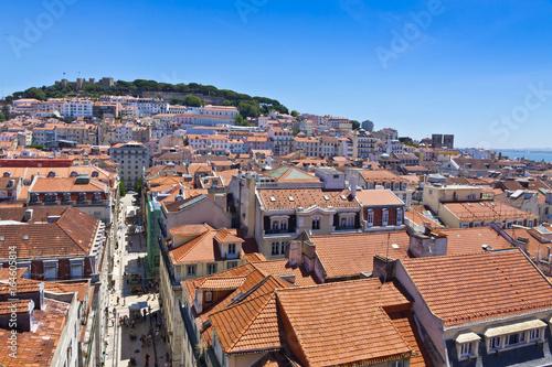 Papiers peints Orange eclat Skyline aerial view of Lisbon city in a sunny summer day, Portugal. View from Miradouro do Elevador de Santa Justa