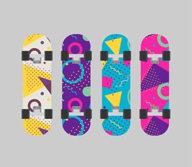 Naklejka Do pokoju młodzieżowego Different skateboard set. Various skate in flat design. Vector stock.