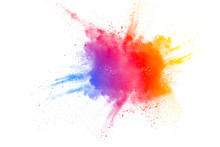 Color Powder Explosion On Whit...