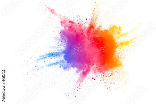 Color powder explosion on white background Canvas Print