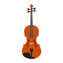 Isolated Wooden Violin On A White Background, Vector Illustration