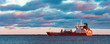 canvas print picture - Red oil tanker