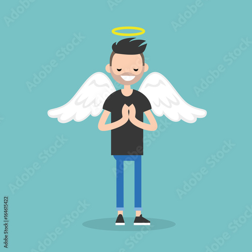 Photo Young character wearing angel costume: nimbus and wings / flat editable vector i