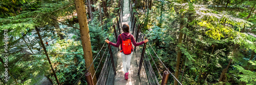 Montage in der Fensternische Kanada Canada travel people lifestyle banner. Tourist woman walking in famous attraction Capilano Suspension Bridge in North Vancouver, British Columbia, canadian vacation destination for tourism.
